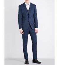 Sandro Tailored Fit Notch Lapel Pure Wool Jacket Blue
