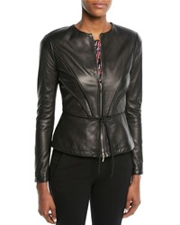 Emporio Armani Zip Front Pleated Leather Jacket W Tie Detail Black