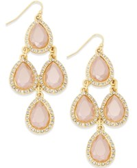 Inc International Concepts Gold Tone Pink Stone Teardrop Chandelier Fish Hook Earrings Only At Macy's