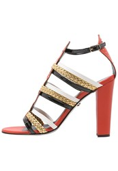 Just Cavalli Sandals Red Gold Coral