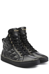 Balmain Quilted Leather High Top Sneakers Black