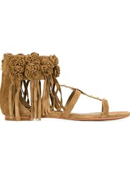 Ash 'Ophely' Studded Sandals Brown