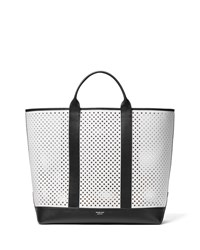 Michael Kors Colorblock Perforated Calf Tote Bag White