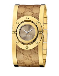 Gucci Ladies Twirl Collection Watch With Yellow Gold Bangle