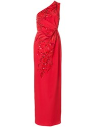 Emilio Pucci Sequin Embellished Gathered Column Gown Silk