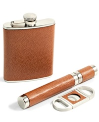 Bey Berk 6 Ounce Flask Cigar Tube And Cutter Gift Set Brown