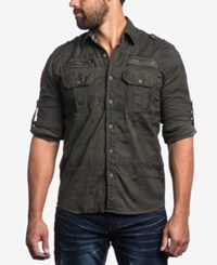 Affliction Men's Military Look Shirt Military Green