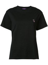Y's Chest Slogan T Shirt Black