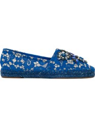 Dolce And Gabbana Embellished Lace Espadrilles Blue