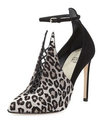 Francesco Russo Calf Hair Combo Ankle Strap Bootie Grigio