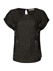 Label Lab Tribal Beaded Sheer Blouse Black