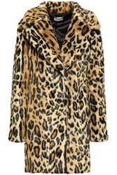 Milly Woman Leopard Print Faux Fur Coat Animal Print