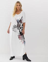 Religion Maxi T Shirt Dress With Thigh Split And Pockets White
