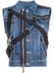 Dsquared2 Zipper Strap Denim Jacket Blue