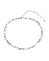 Zoe Lev Jewelry Personalized Cuban Link Choker Necklace With Name Plate In 14K White Gold Silver
