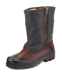 Ralph Lauren Fur Lined Vachetta Leather Boot Dark Brown