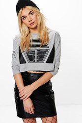 Boohoo Crop Printed Sweat Grey