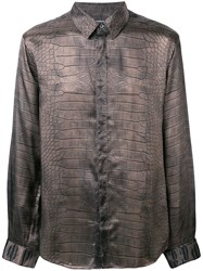 Roberto Cavalli Crocodile Print Shirt Brown
