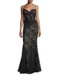 Mignon Embellished Corset Lace Gown Black Nude