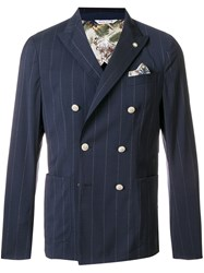 Manuel Ritz Classic Double Breasted Blazer Blue