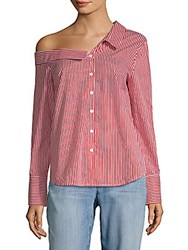 Lea And Viola Stripe One Shoulder Cotton Button Down Shirt Red White