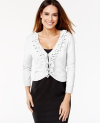 Cable And Gauge Ruffled Cropped Cardigan Ivory