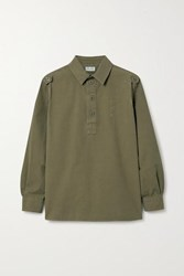 Saint Laurent Distressed Cotton Top Army Green