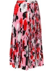 Msgm Pleated Floral Skirt Polyester Pink Purple