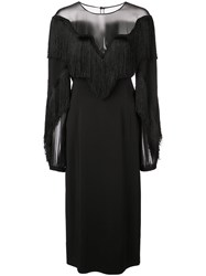 Alberta Ferretti Fringed Chest Dress Black