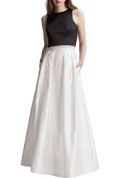Levkoff Women's Two Piece Satin A Line Gown