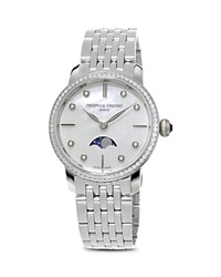 Frederique Constant Slimline Moonphase Stainless Steel Watch With Mother Of Pearl Dial 30Mm Silver
