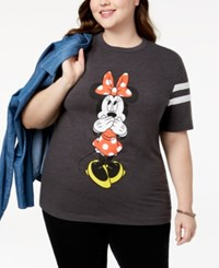 Disney Plus Size Minnie Mouse T Shirt Charcoal Heather White