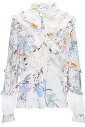 Zuhair Murad Printed Lace Paneled Silk Crepe De Chine Blouse Off White Off White
