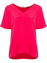 Giuliana Romanno Deep V Neck Loose Blouse Pink And Purple