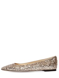 Jimmy Choo 10Mm Mirele Glittered Flats Gold