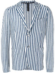 Harris Wharf London Striped Blazer Men Silk Linen Flax Polyamide 50 Blue