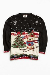 Urban Outfitters Vintage Holiday Ski Bear Sweater Black