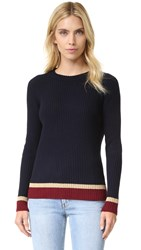 Chinti And Parker Rib Color Block Sweater Navy Bordeaux
