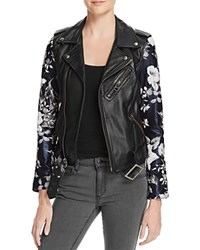 Linea Pelle Floral Sleeve Leather Moto Jacket 100 Bloomingdale's Exclusive Black