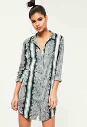 Missguided Black Paisley Print Shirt Dress Blue