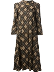 Biba Vintage Argyle Check Coat Brown