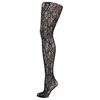 Wolford Clair Fashion Floral Lace Tights Black