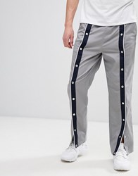 Asos Design Skater Trousers In Grey With Front Poppers