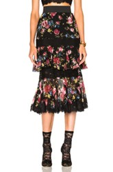 Dolce And Gabbana Tiered Skirt In Black Floral Pink Red Black Floral Pink Red