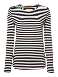 Hugo Boss Terstripe Long Sleeve Crewneck Stripe Jersey Top White