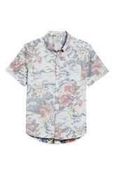 7 Diamonds Vacation Tropical Print Sport Shirt Lt. Blue