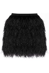 Raoul Lila Crepe And Feather Mini Skirt Black