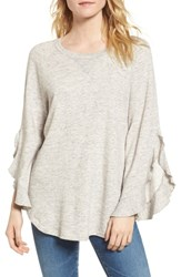Ella Moss Ruffle Split Sleeve Cotton Sweatshirt Grey