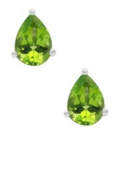 Olivia Leone Sterling Silver Peridot Pear Shaped Stud Earrings Green