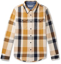 Outerknown Checked Organic Cotton Twill Shirt Yellow